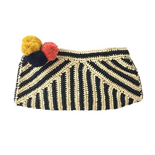 Mar Y Sol Sonia Pom Pom Crochet Raffia Clutch, Black Stripe