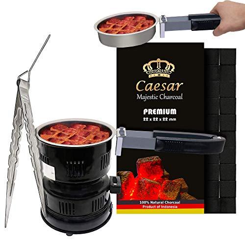 Caesar | 1KG | Premium Kokosnuss Naturkohle für Shisha & BBQ [Shisha Kohle] 2.2 cm | 96 Stück inkl. Blitz 02 Kohleanzünder + Kohlezange 22 cm