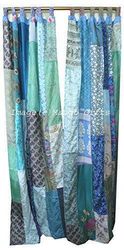 Old Silk Sari Saree Patchwork Multicolor Boho Curtain Door Drapes (Turquoise)