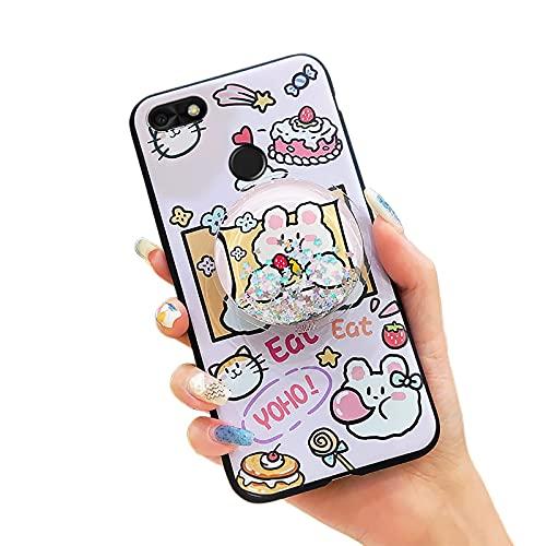 Toy Sparkle Lulumi - Funda para Huawei Enjoy 7/Y6 Pro 2017/P9 Lite Mini, goma original para reducir el estrés, flexible, resistente a la suciedad, líquido, impermeable, TPU, rosa