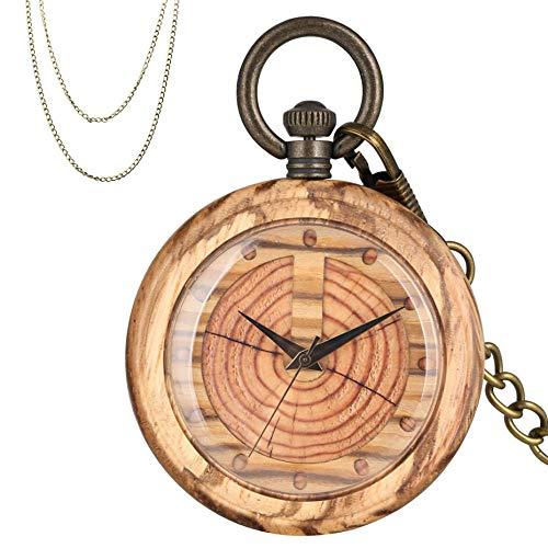 XVCHQIN Anillos anuales creativos de Madera Diseño de círculos Reloj de Bolsillo de Cuarzo de Madera Reloj Colgante de Madera Hombres Mujeres Cadenas de Bronce, Claro