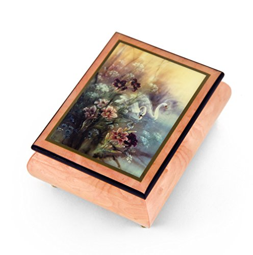 Handcrafted Ercolano Music Box Featuring Swan with Daylilies by Lena Liu - Serenade, Schubert