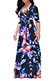 Locryz Women's Floral Print V Neck 3/4 Sleeve Wrap Party Cocktail Long Maxi Dress with Belt (M, Navy)