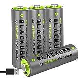 Blackube High Capacity 1700mAh y High out Put 4A-USB Baterías Recargables AA - Batería de Litio/Litio Doble A de 1.5V para una Mejor compatibilidad - Carga rápida con 2 Horas (Paquete de 4 AA)