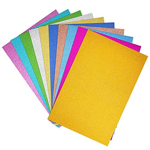 Carta Glitterata Adesiva, Fogli Autoadesivi Glitterati Formato A4, Lucido Cartoncino Origami per...