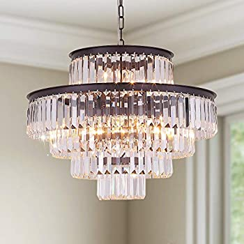 GMlixin Crystal Chandelier Lights 24 Inch Round Luxurious Chandeliers Hanging Pendant Light Fixture for Dining Rooms Bedroom Entryway 12-Lights  Oil Brown