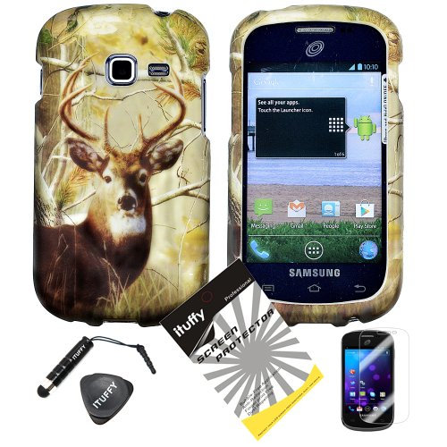 4 items Combo: ITUFFY LCD Screen Protector Film + Mini Stylus Pen + Case Opener + Pine Tree Leaves Deer Camouflage Outdoor Mountain Wildlife Design Rubberized Snap on Hard Shell Cover Faceplate Skin Phone Case for Samsung Galaxy Centura S738C / Samsung Ga
