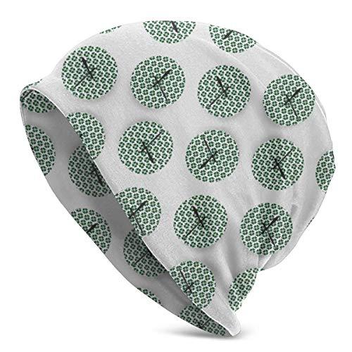 Erwachsene Unisex-Strickmütze, Beanie-Mütze Vierblättriges Kleeblattmuster Runde Uhr Designmuster Mode-Hut Hip Hop-Hut Persönlichkeitshut