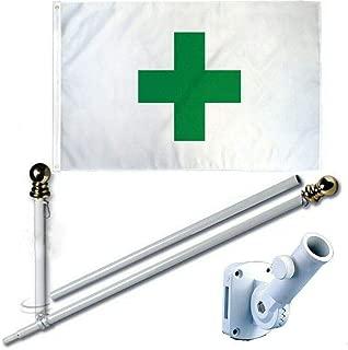 MWS 3'X5' Green Cross Medical Marijuana Cannabis Dispensary Premium 210D 3x5 Flag Set (Super Polyester) w/Heavy Duty 6-Feet Spinning Flag Pole Bracket Residential Commercial