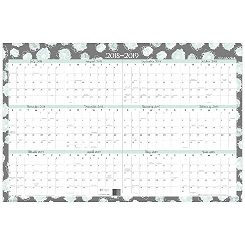 AT-A-GLANCE 2018-2019 Academic Year & Regular Year Wall Calendar, Erasable, X Large, 24 x 36, Mint Flora, includes Marker (W1103-550S)