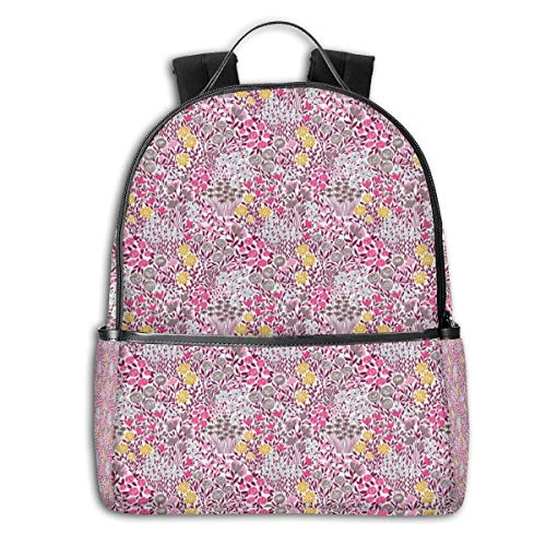 College Backpacks for Women Girls,Abstract Garden With Various Flowers Blossom Spring Fun Pattern,Casual Hiking Travel Daypack
