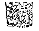 42 Music Notes (W20) Wall Decal Sticker Arts & Crafts/Mission Black and Greenstar