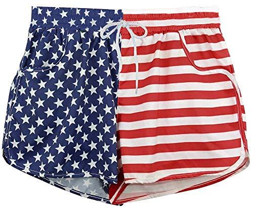 Roshop Patriotic USA Red White and Blue Swim Shorts - American Flag Swim Boardshorts(Large,1)