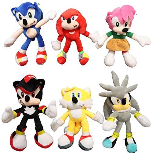 XINQIANG Sonic The Hedgehog 6pcs/lot Azul Sonic Peluche colas de plata de felpa Juguetes de muñeca de peluche suave regalo para niños