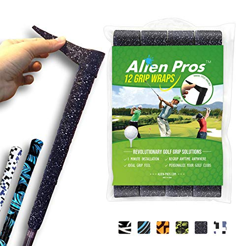 Alien Pros Golf Grip Wrapping Tapes (12-Pack) - Innovative Golf Club Grip Solution - Enjoy a Fresh New Grip Feel in Less Than 1 Minute (12-Pack, Black Magic)