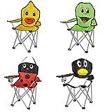 Kinder-Faltarmlehnstuhl in 4 lustigen Tier-Motiven: Pinguin - Marienkäfer - Frosch - Ente Klappstuhl Faltstuhl Campingstuhl für Kinder Frosch