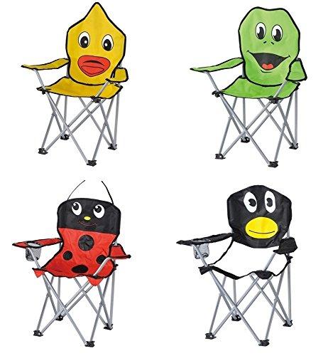 Kinder-Faltarmlehnstuhl in 4 lustigen Tier-Motiven: Pinguin - Marienkäfer - Frosch - Ente Klappstuhl Faltstuhl Campingstuhl für Kinder Ente