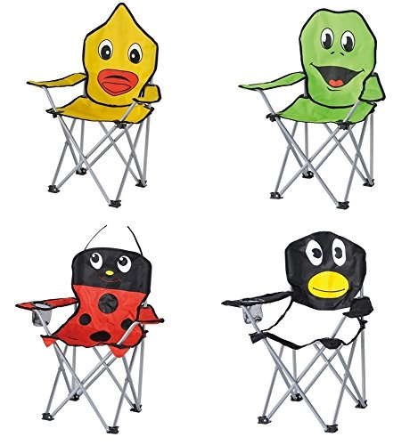 Kinder-Faltarmlehnstuhl in 4 lustigen Tier-Motiven: Pinguin - Marienkäfer - Frosch - Ente Klappstuhl Faltstuhl Campingstuhl für Kinder Pinguin
