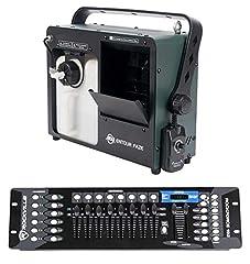 Package Includes: (1) American DJ ADJ Entour Faze Haze Machine 450W Water Based Thin Mist Hazer+Remote, (1) Rockville ROCKFORCE 192-Channel Light/Fog DMX Lighting Controller Feature of Entour Faze: 450W Faze Machine with DMX protocol, Rapid Heater Te...