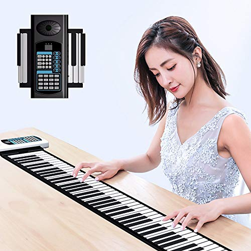 Portable Roll Up Piano Standard 88 Keys, Hand Roll Electric Piano Keyboard, Thickened Keys And Upgraded Built-In Amplifying Speakers For Kids Adults,black