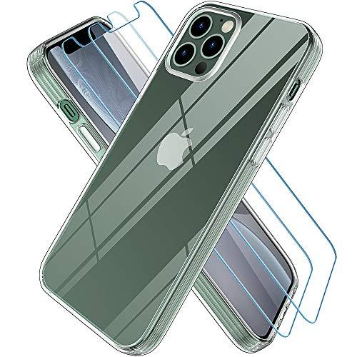 Wiselead Cover per iPhone 12 PRO Max con 2 Vetro Temperato,Silicone TPU Antiurto AntiGraffio Custodia per iPhone 12 PRO Max - 6.7 Pollici Trasparente