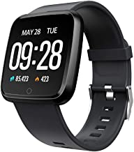 JinJin Y7 Smart Watch Blood Pressure Heart Rate Smart Watch Sports High-End Fitness Tracker Activity Trackers Health Exercise Watch with Heart Rate and Sleep Blood Pressure Watch (black)