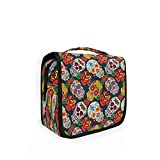Hunihuni Hanging Toiletry Bag Sugar Skull Day of The Dead Multifunction Travel Cosmetic Makeup...