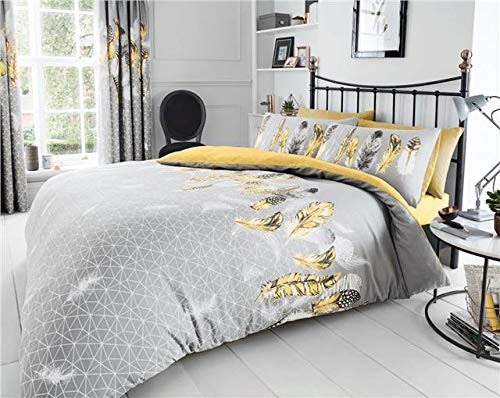 Homemaker Grey & ochre yellow dream catcher feathers quilt cover bedding duvet sets (Double)