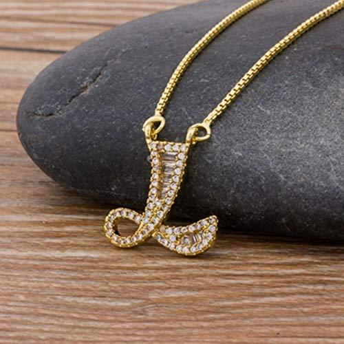 liming Gold Farbe AZ 26 Buchstaben Halskette CZ Anhänger für Frauen NetteInitialen Name Halskette Fashion Party Hochzeit Schmuck Geschenk, L