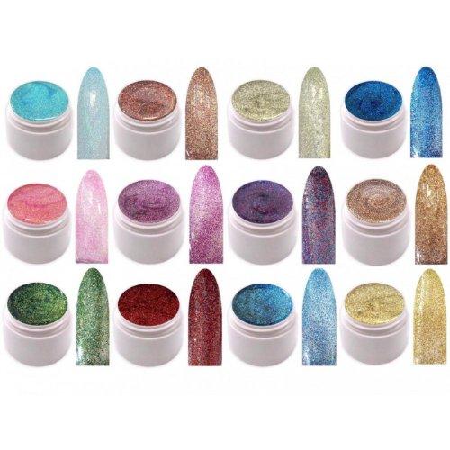 xxl-cosmetic 12 x UV Farbgel Glitter Effekt Gel Set #GGF-Set