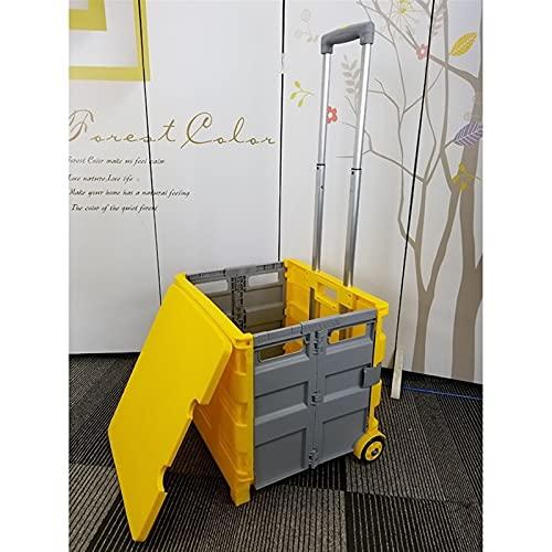 Kuajingdi Carrello della Spesa Pieghevole, Carrello da Ufficio Portatile E Pratico da 50 Litri con Coperchio E Ruote (Color : Yellow)