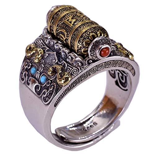 YABEME Anillo Vikingo de Plata Esterlina S925, Amuleto de Runas Vintage Ajustable,...