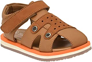 Hopscotch Tuskey Shoes Boys Genuine Leather Lining Leather Strap Sandals in Tan Color