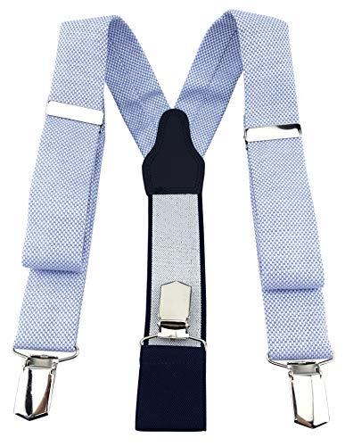 TigerTie Unisex Hosenträger Pique in hellblau-weiss uni gemustert - Y-Form mit 3 extra starken Clips - verstellbar 82 bis 130 cm