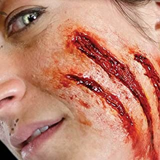 Tinsley Transfers SLASHED / Claw Mark - Film Quality Realistic 3D Prosthetic Makeup FX Transfer. Apply With Water.
