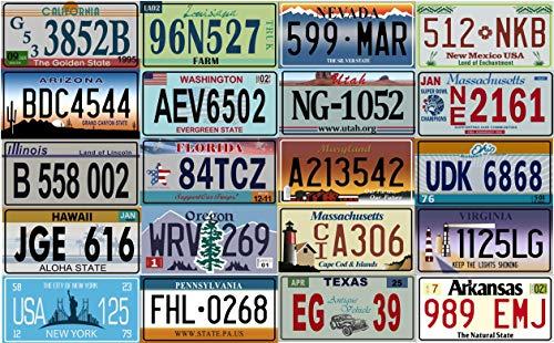 OPO 10 - Los mit 20 USA-Kfz-Kennzeichen aus Metall - Repliken von echten amerikanischen Kennzeichen (V1 + V2)
