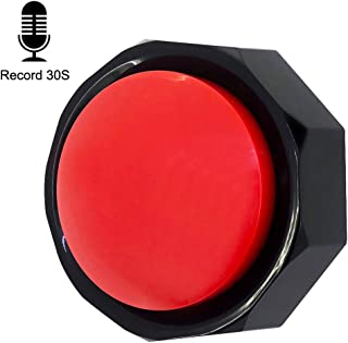 U-Likee Recordable Button-Voice Recorder Button-Record Talking Button-Max 30 Second Recording-Batteries Included (Red-Black)