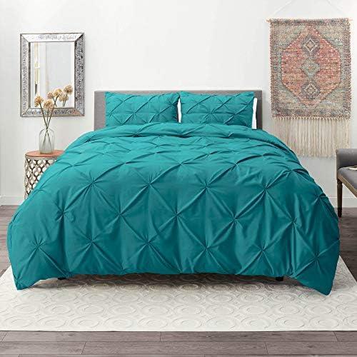 Nestl Bedding Duvet Cover Set Pintuck Comforter Cover Teal Duvet Cover Queen Pinch Pleat Duvet product image