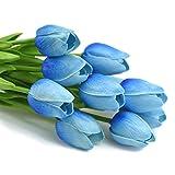 Pichidr 造花 チューリップ 10本セット アートフラワー 手作りブーケ フラワーアレンジ かわいい 枯れない花 インテリア飾り 本物そっくり 母の日 ギフト ブルー