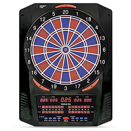 Carromco Elektronische Dartscheibe TOPAZ-901 - Dartboard für 1-8 Spieler - E-Dartautomat mit 6 LED-Anzeigen, 40 Spielen und 761 Varianten - inkl. Netzteil und 6 Softdarts, 92966