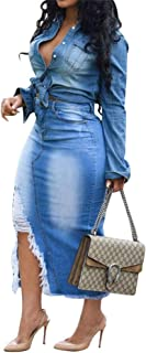 Women Distressed Ripped Jean Midi Dress V Neck Sleeveless Buttom Down Bodycon High Waist with Belt