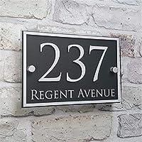 家屋番号 カスタマイズ近代ハウスの住所プラークドア#記号のネームプレートガラスの効果アクリル プラーク (Color : Brown)