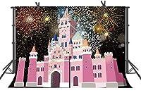 HD花火漫画城の背景女の子のための10x7ftの写真の背景子供写真ブースの小道具