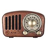 Vintage Radio Bluetooth Altavoz Retro - Aooeou FM Nogal Madera Radios con Estilo clásico Antiguo, Mejora de Graves Volumen Alto, Compatible con MP3 Reproductor, Tarjeta TF, AUX, Bluetooth 4.2