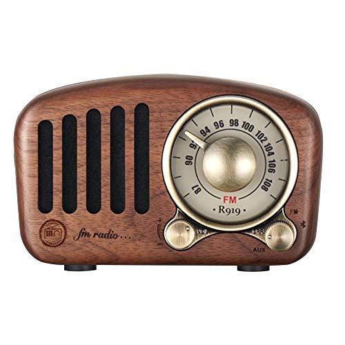 Vintage Radio Bluetooth Altavoz Retro - Aooeou FM Nogal Madera Radios con Estilo clásico Antiguo, Mejora de Graves Volumen...
