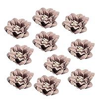 Hellery 10個/個椿の花の装飾アップリケに購入DIYヘア - コーヒー