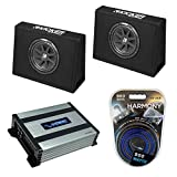Kicker Bundle Compatible with Universal Truck (2) 43CT104 Car Audio Single 10' Loaded Sub Box Enclosure with Harmony HA-A400.1 Amplifier and Amp Wiring Kit