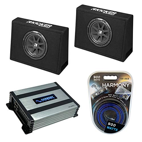 """Kicker Bundle Compatible with Universal Truck (2) 43CT104 Car Audio Single 10"""" Loaded Sub Box Enclosure with Harmony HA-A400.1 Amplifier and Amp Wiring Kit"""