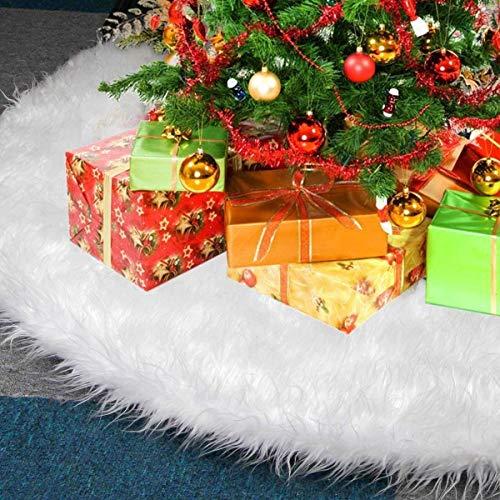 KAHEIGN 78CM Weihnachtsbaum Decke Weiß Weihnachtsbaum Rock, Runde Form Christbaumständer Schneeflocke weiß Plüsch Weihnachtsbaum Unterlegdecke Bodendekoration für Weihnachtsbaum Deko