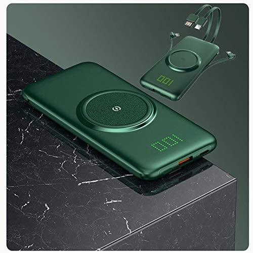 Cargador Portátil Delgado De Carga Rápida QI Wireless Power Bank con Cable Integrado Pantalla Digital Oculta Y Compatible con 2 Entradas Y 4 Salidas De Batería Externa,20000mAh